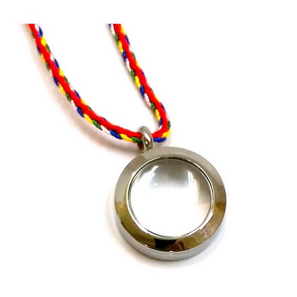 【十相自在】2公分 鋼合金放大鏡效果圓形嘎嗚盒-銀色(小佛龕)