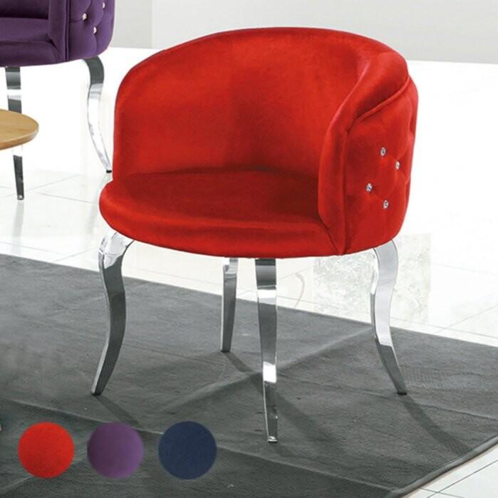 優比傢俱生活館20 樂樂購-水鑽黑色/紫色/紅色白鐵腳絨布餐椅/休閒椅/洽談椅 jl257-5
