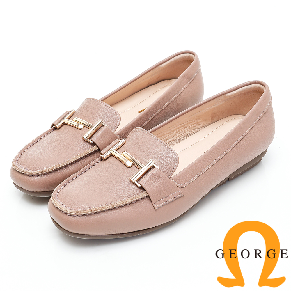 GEORGE 喬治-高質感釦飾素面平底包鞋-深粉色 934003CU-E2