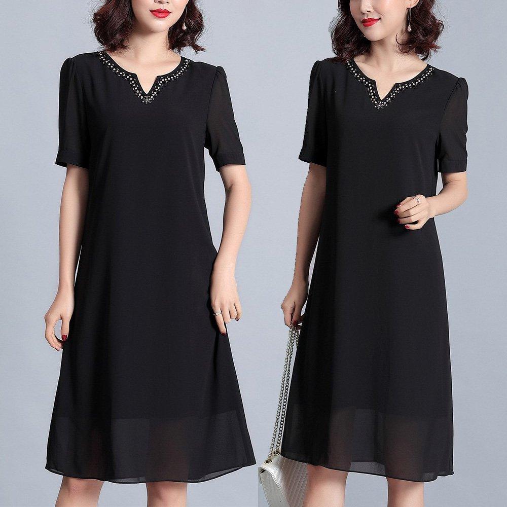 【麗質達人】PM3299黑色雪紡洋裝(M-5XL)