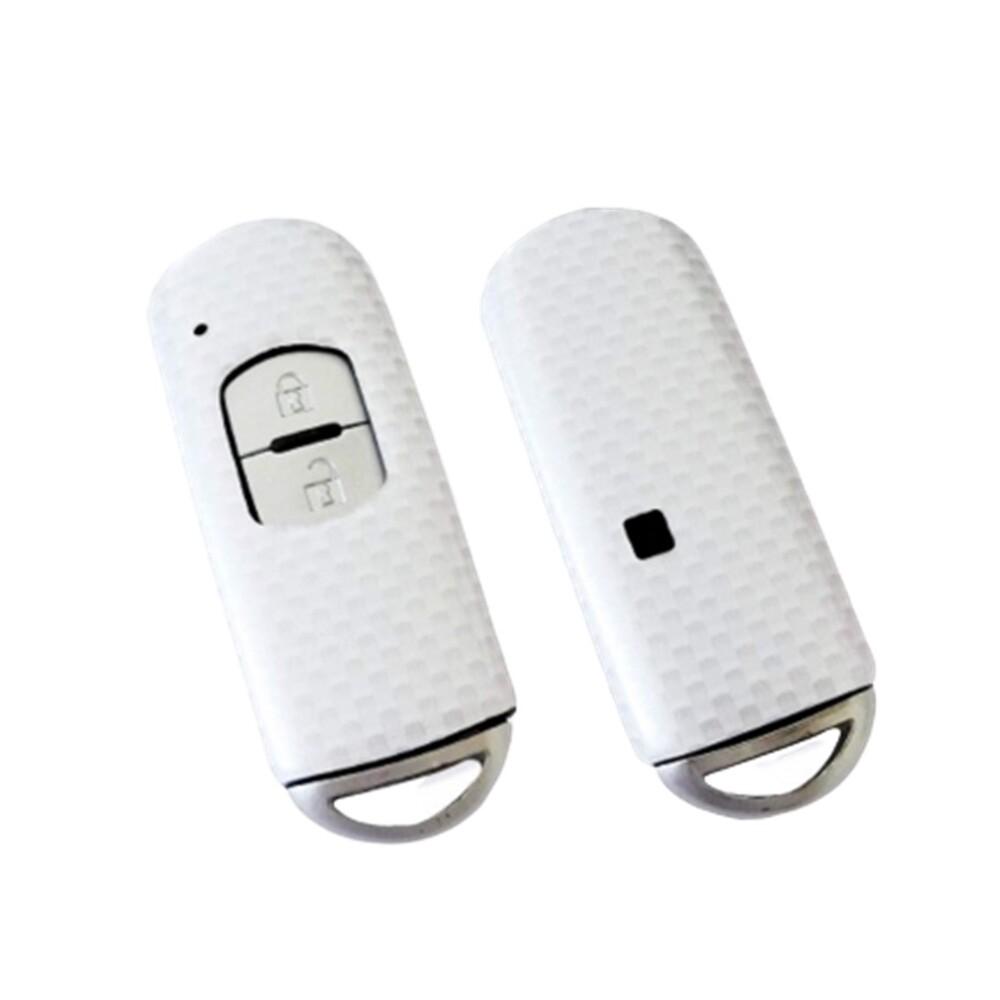 日牌second stage 適用mazda汽車2鍵鑰匙保護套 馬自達智慧鑰匙造型殼(酷炫白)