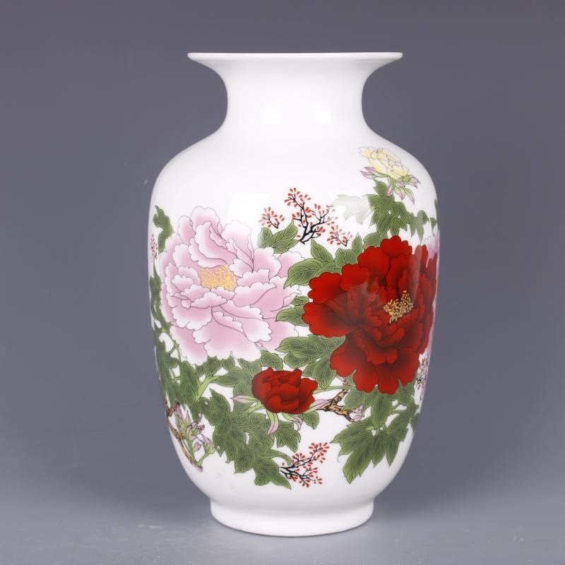 清乾隆粉彩牡丹花紋冬瓜瓶仿古中式家居餐廳瓷器擺件古董古玩收藏1入
