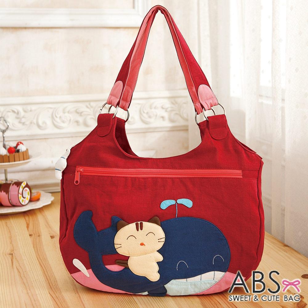 ABS貝斯貓 微笑貓咪騎鯨拼布包 手提包/肩提包 (活力紅) 88-172