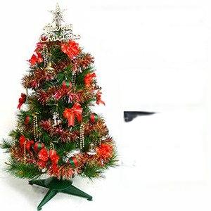摩達客-台灣製3尺(90cm)特級綠松針葉聖誕樹 (紅金色系配件)+100燈LED燈一串(本島免運費)