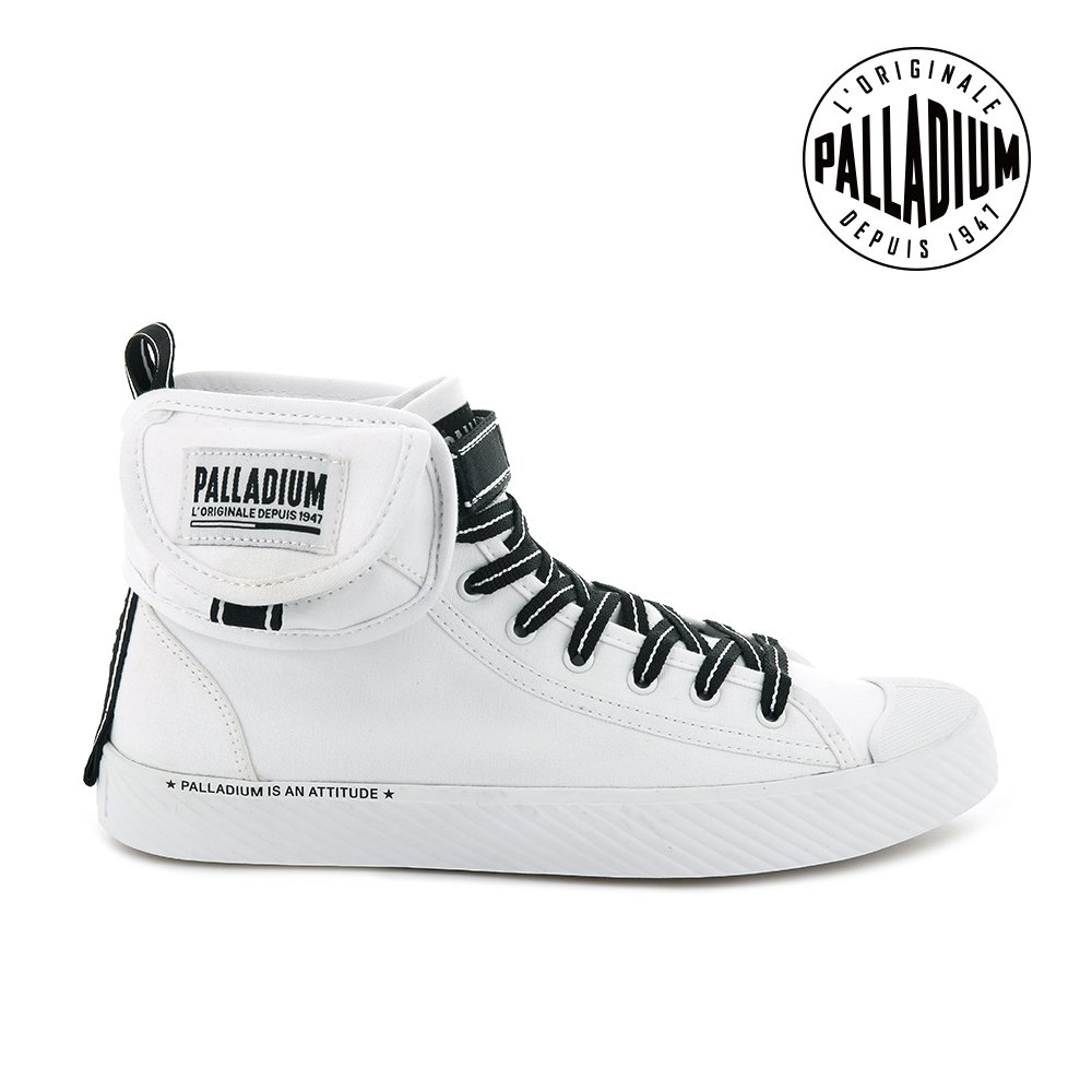 PALLADIUM PALLAPHOENIX MID DARE高筒帆布鞋-男-白