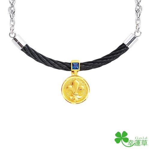 幸運草金飾-撼動-金加鋼項鍊