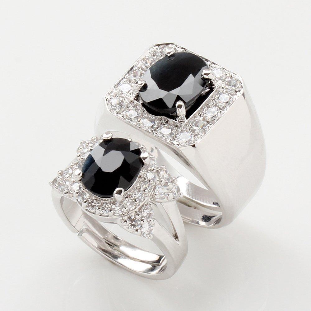 【雅紅珠寶】幸福美滿天然3克拉+2克拉黑藍寶對戒-活圍設計