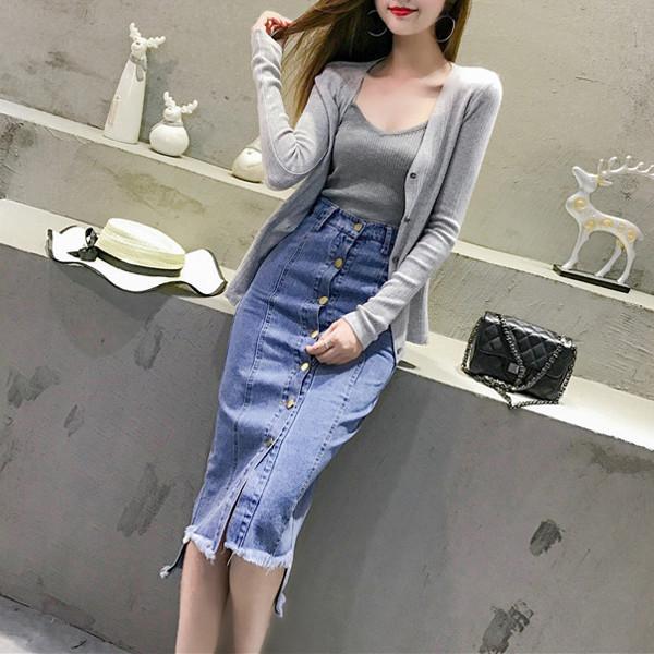 韓版吊帶背心針織長袖開衫牛仔裙三件式套裝cntop