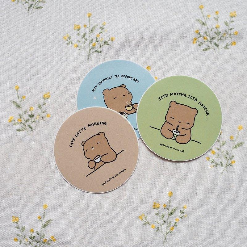 小便熊貼紙與飲料,咖啡廳,咖啡,綠茶,洋甘菊