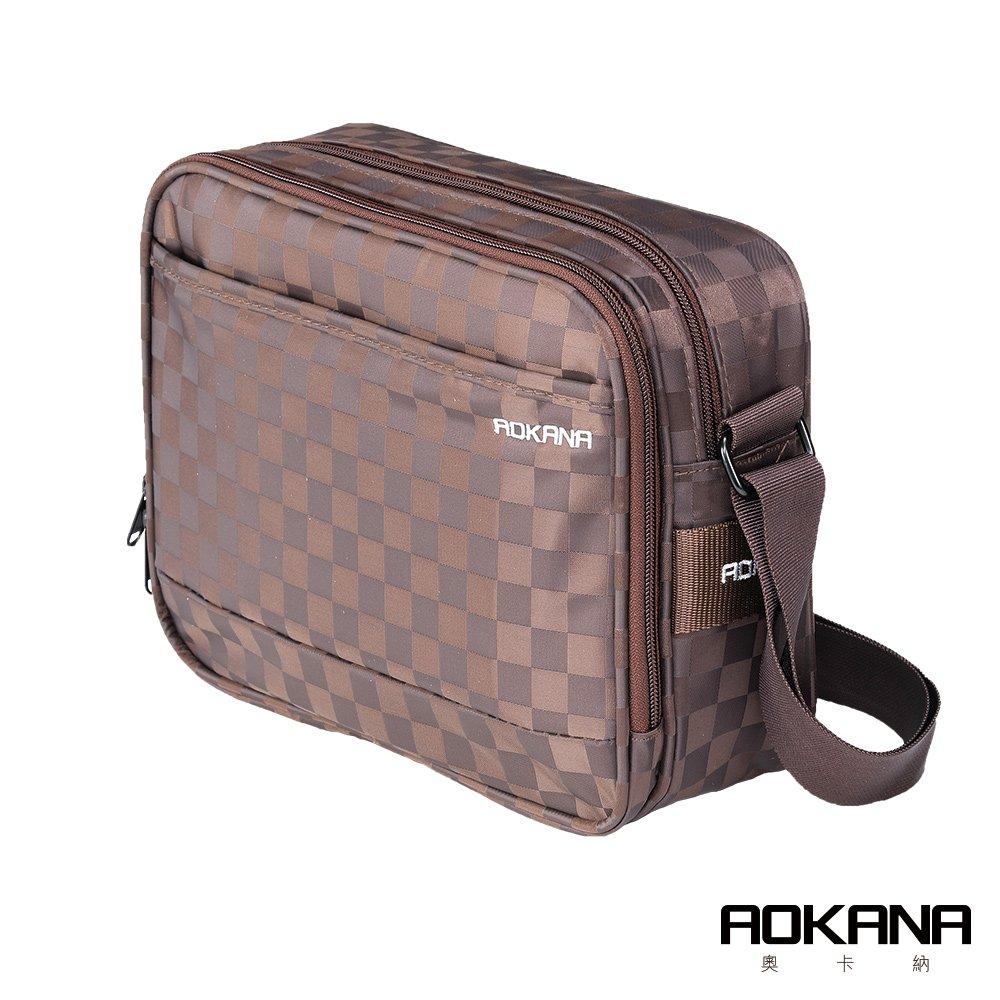 AOKANA奧卡納 商務旅者Elda系列 中型商務出差斜背包多隔層設計 02-036D2咖啡格
