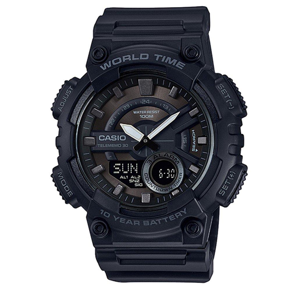 【CASIO卡西歐】10年電力世界時間 高技能性雙顯錶 (AEQ-110W-1B)