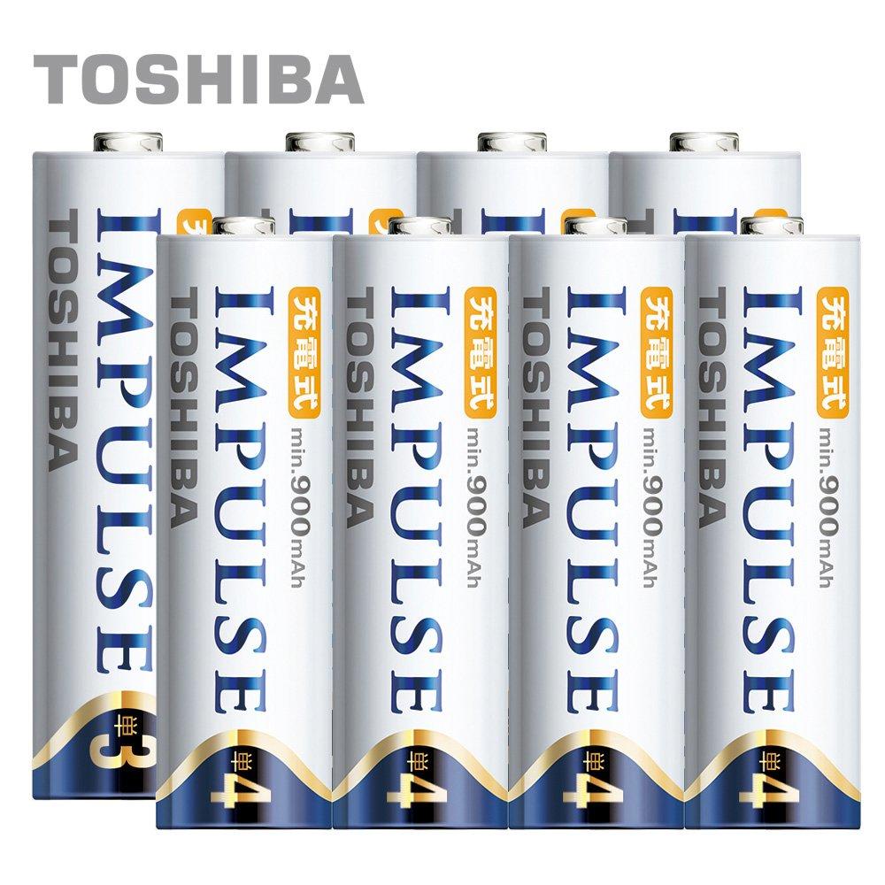 日本製TOSHIBA IMPULSE 高容量低自放電電池 2450mAh+900mAh 3號4入+4號4入