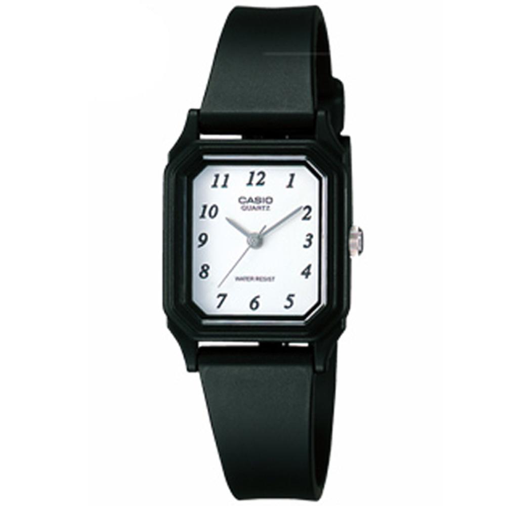【CASIO卡西歐】低調質感輕薄指針腕錶-白面X黑數字 (LQ-142-7B)