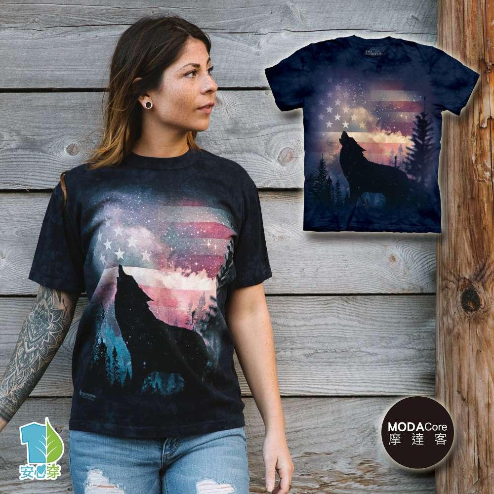 【摩達客】美國進口The Mountain 愛國狼嚎純棉環保藝術中性短袖T恤-預購