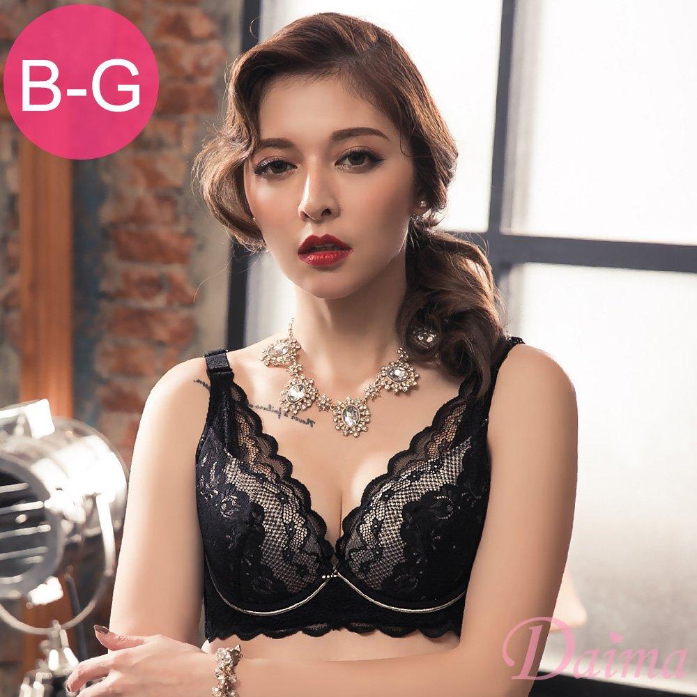 【Daima黛瑪】愛戀天使大罩杯深V軟鋼圈蕾絲性感爆乳內衣_黑