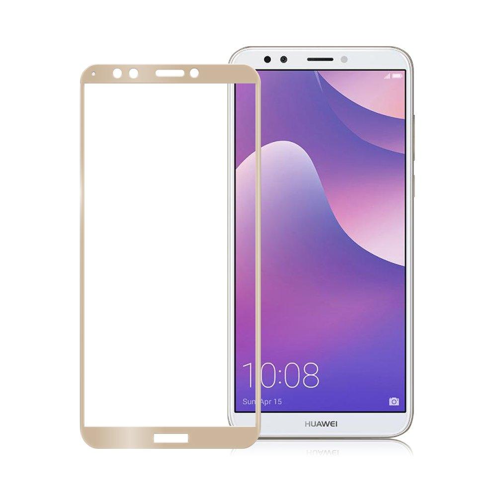 Xmart for HUAWEI Y7 Prime 2018版 超透滿版 2.5D 鋼化玻璃貼-金
