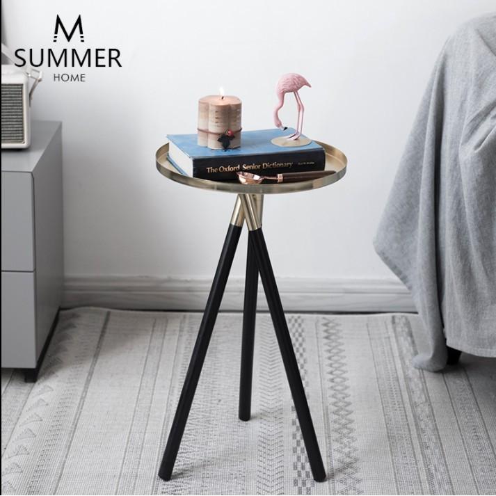 北歐時尚金色小茶幾樣板房間沙發邊幾簡約角幾臥室創意床頭圓桌子 - 圓形小茶幾金屬木腿