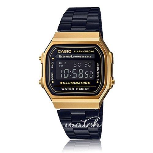 【CASIO 卡西歐】復古造型_時尚必備_不鏽鋼錶帶_電子錶_男錶(A168WEGB)