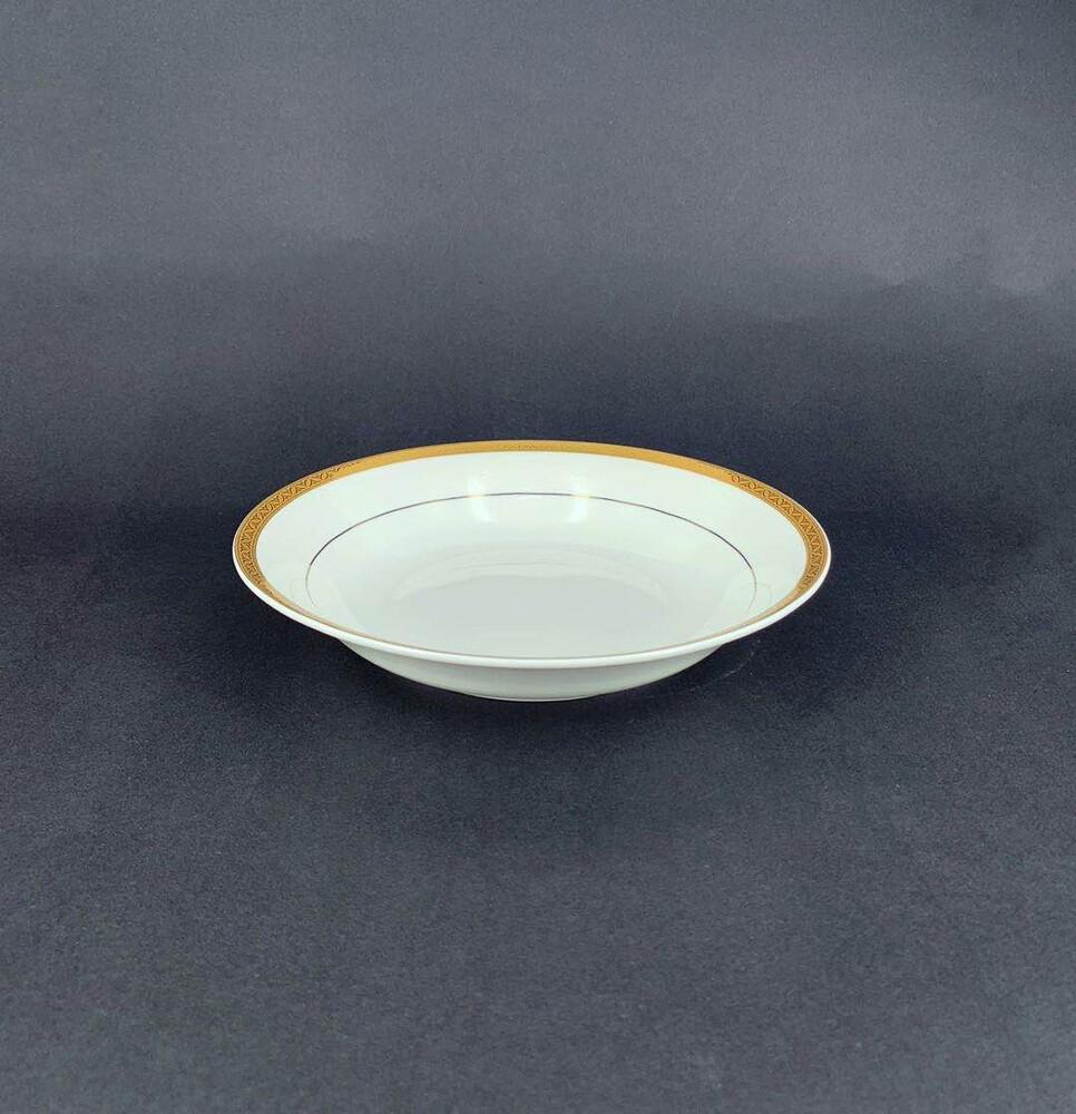 彩金骨瓷 8.75吋湯盤-可微波金
