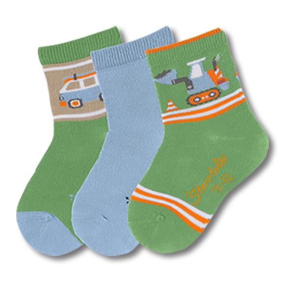 STERNTALER寶寶襪子3入組-車子綠(8-14cm) C-8321623-256