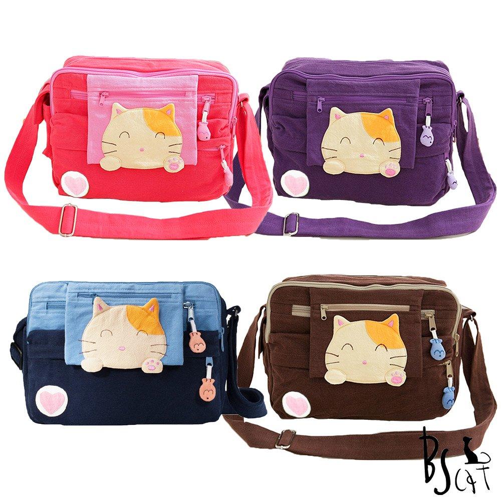 ABS貝斯貓可愛貓咪拼布 肩背包 斜背包88-192