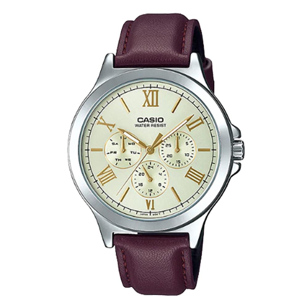 【CASIO 卡西歐】CASIO 羅馬三眼指針男錶 皮革錶帶 裏柳色 生活防水(MTP-V300L-9A)