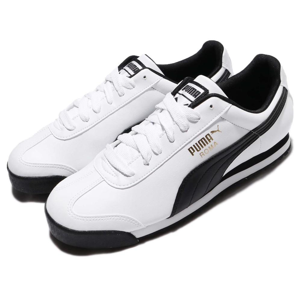 PUMA 休閒鞋 Roma Basic 運動 男女鞋 基本款 皮革 簡約 球鞋 情侶穿搭 白 黑 [35357204]