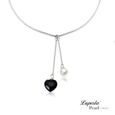 大東山珠寶 珍珠925銀項鍊 氣質黑瑪瑙愛心