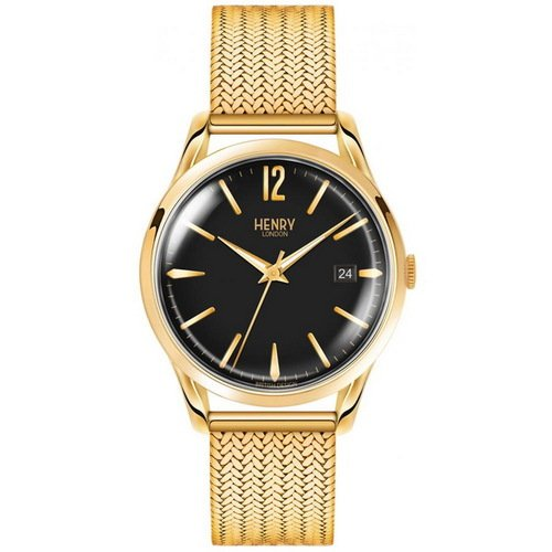 Henry London 英倫復古風潮 WESTMINSTER 經典品味時尚腕錶 HL39-M-0178 黑/金 39mm