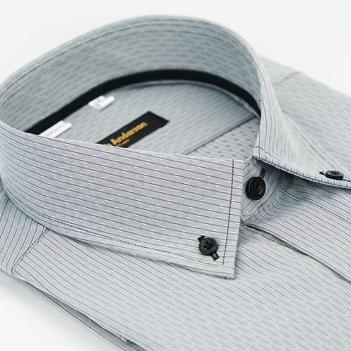 【金安德森】灰色釘釦領吸排窄版長袖襯衫