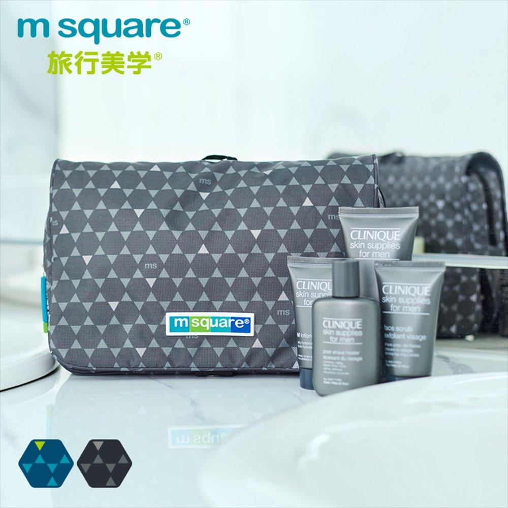 m square商旅系列Ⅱ懸掛式化妝包(單開式)-灰色六角紋