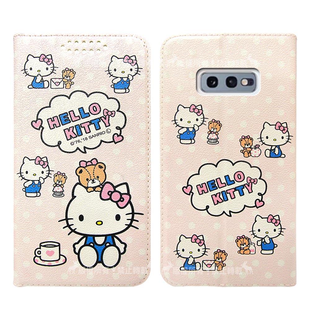 三麗鷗授權 Hello Kitty貓 三星 Samsung Galaxy S10e 粉嫩系列彩繪磁力皮套(小熊)