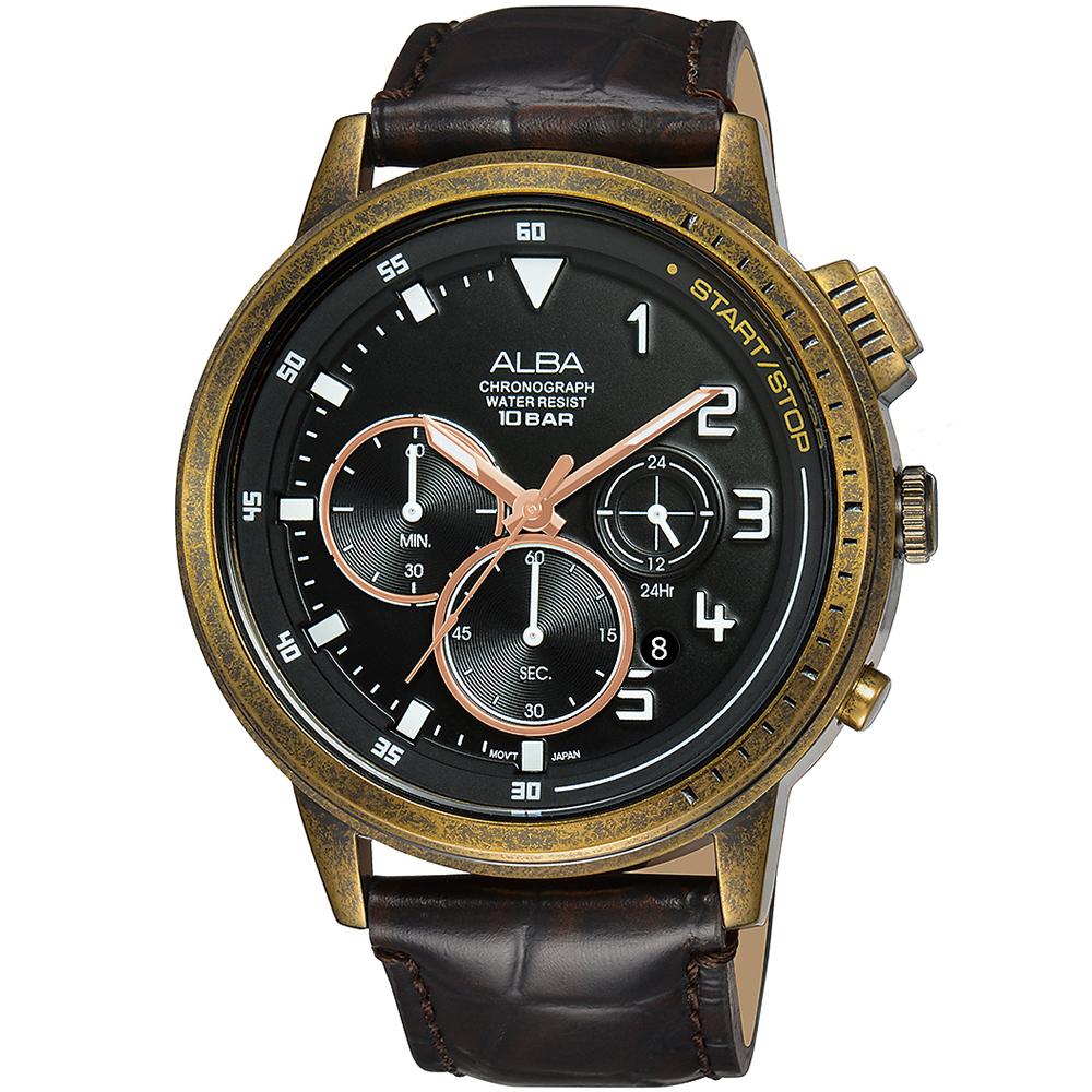 ALBA 雅柏 仿舊經典復刻三眼計時錶/黑x咖啡/44mm (VD53-X340U/AT3G40X1)