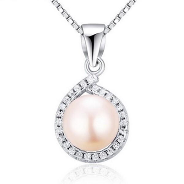 925純銀項鍊 珍珠墜飾-精美鑲鑽時尚女配件73w49米蘭精品