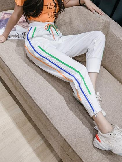 網紅束腳女春夏2020新款潮牌寬鬆顯瘦側拉鏈衛褲時尚哈倫褲