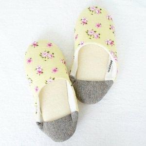 【MORINO摩力諾】日式踩腳室內拼布拖鞋-嫩黃色