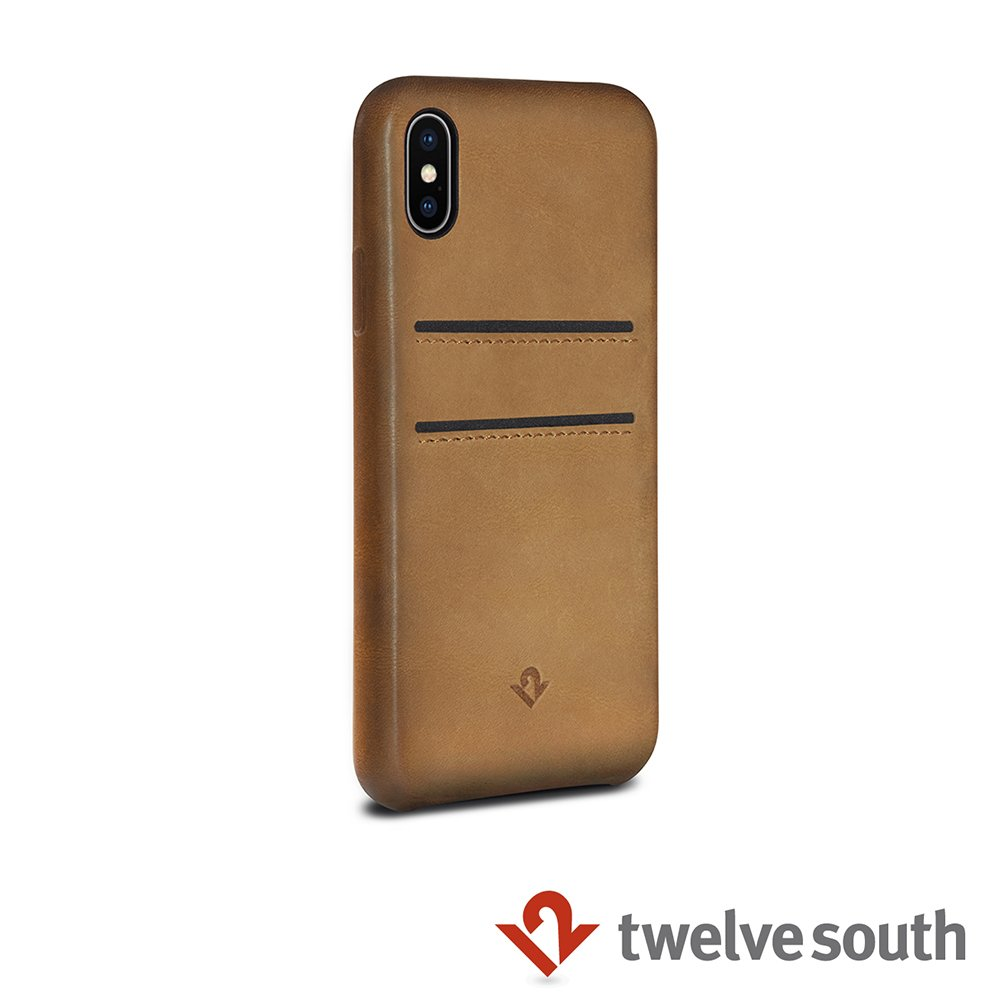 Twelve South Relaxed Leather iPhone X 卡夾皮革保護背蓋 (干邑棕)