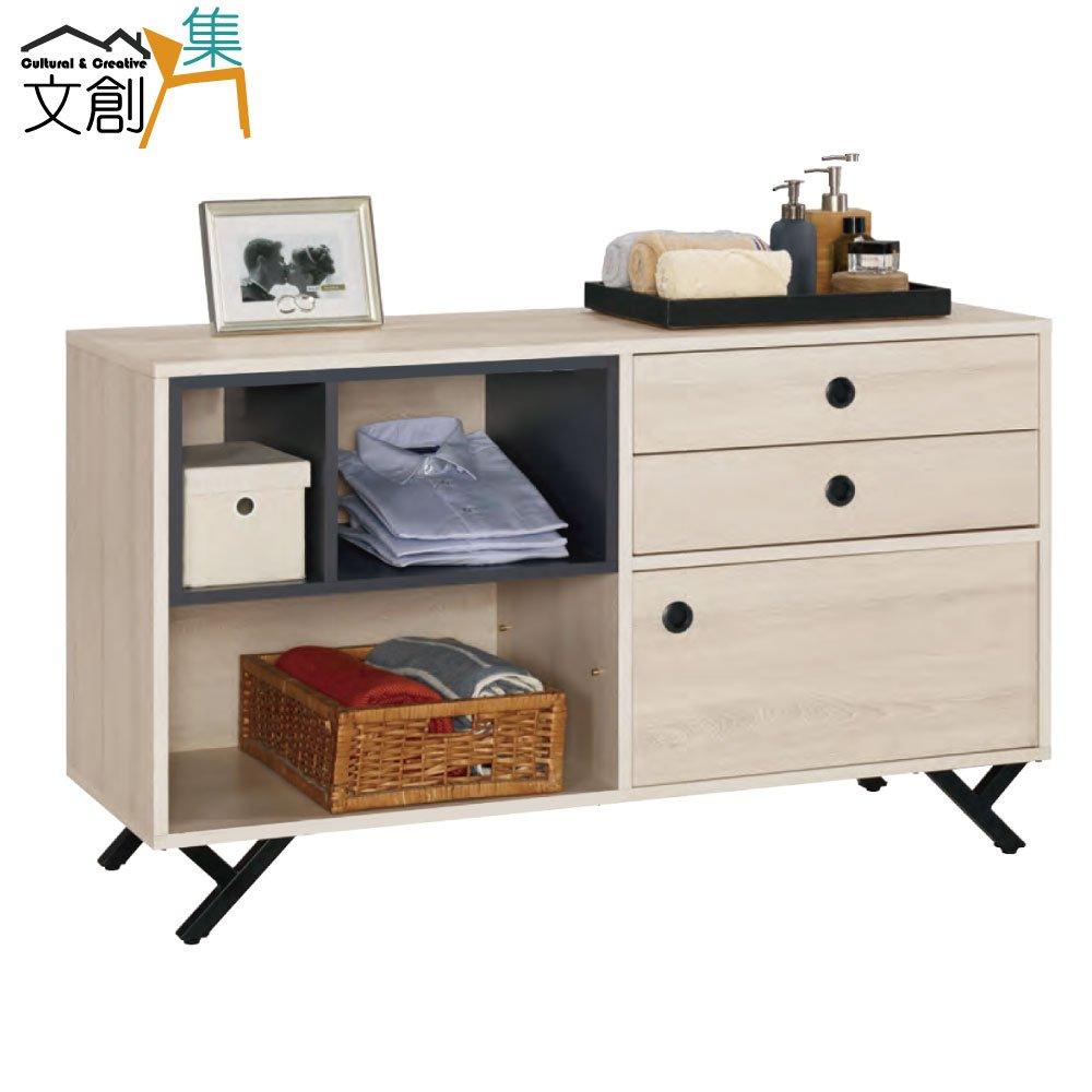 【文創集】沙德仕 時尚4尺木紋餐櫃/收納櫃(二色可選)