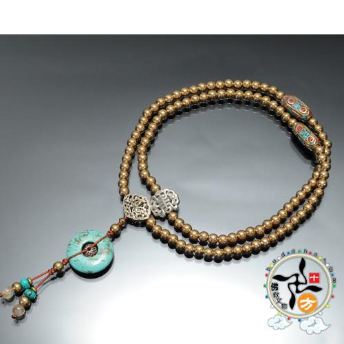 綠松石(平安扣)&金銅珠108念珠