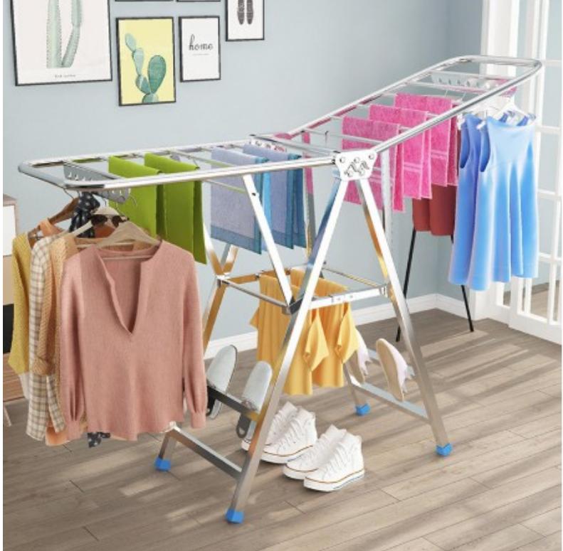 一件免運 免運 不鏽鋼晾衣架落地折疊室內陽台移動曬衣家用曬架晾衣服曬被子 - 加粗款1.7米加寬
