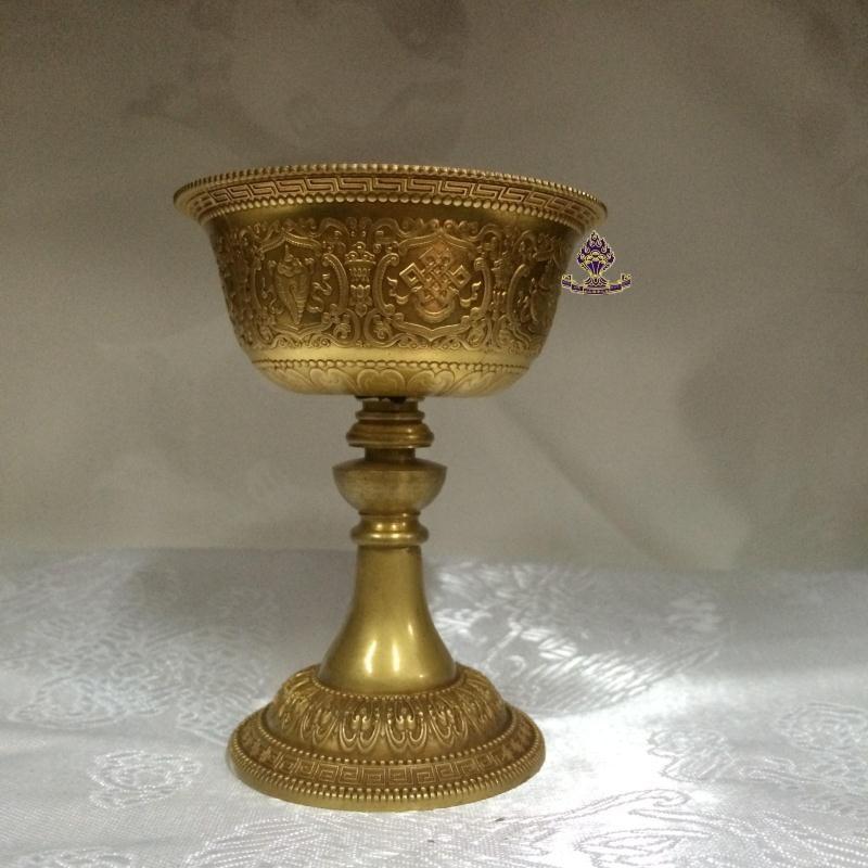 利眾福澤之家藏傳佛教用品 純銅鎏金 八吉祥酥油燈 小號1入