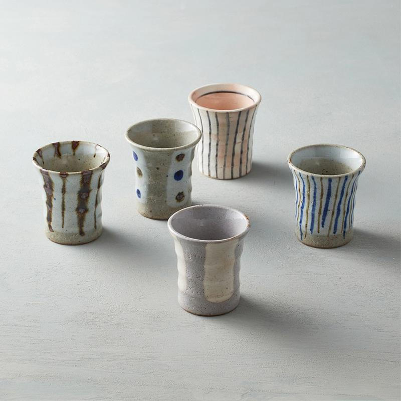 日本美濃燒 - 手握和風茶杯禮盒組(5件式)
