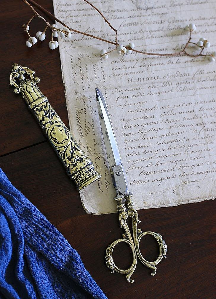 英國 古董剪刀 / 含刀鞘 / 大型 復古