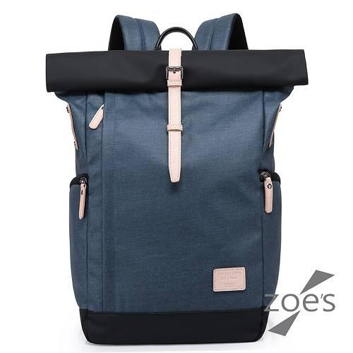 【Zoe s】KUSIM極簡設計無縫防盜東京大容量滑板真皮後背包(深邃藍)
