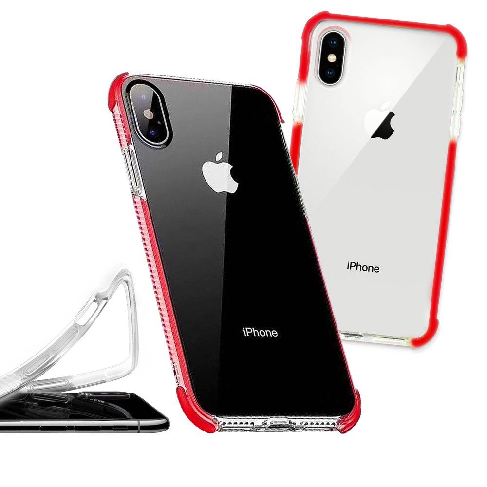 獨家專利 iPhone Xs Max 6.5吋 彩虹多色 邊條可換式防摔手機殼(傳奇紅) 有吊飾孔