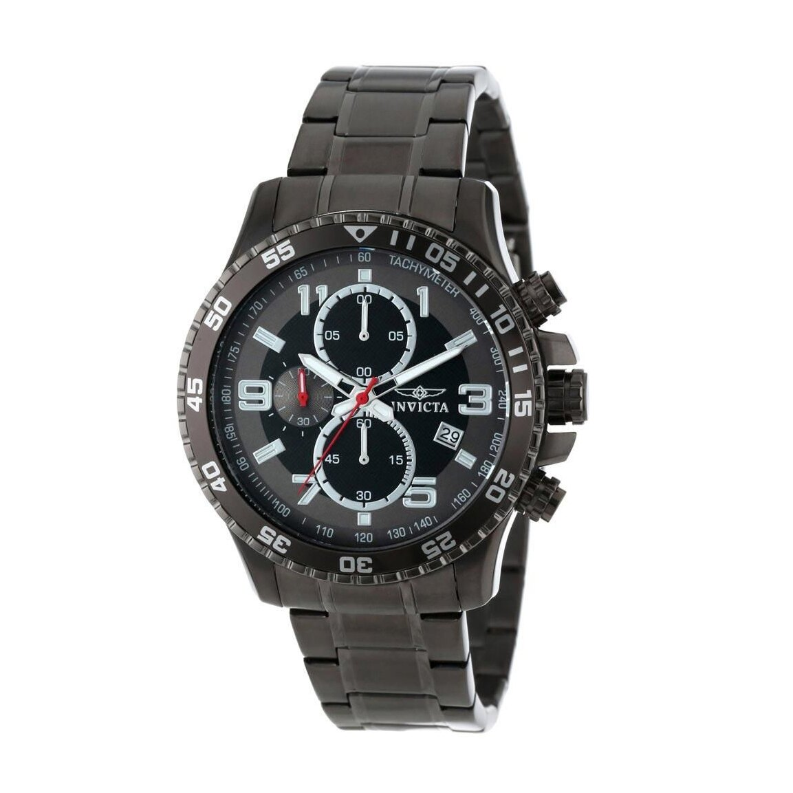 美國百分百【全新真品】INVICTA 黑灰錶盤 三眼計時 不鏽鋼錶帶 精品 手錶 腕錶 石英錶 14879 AY43