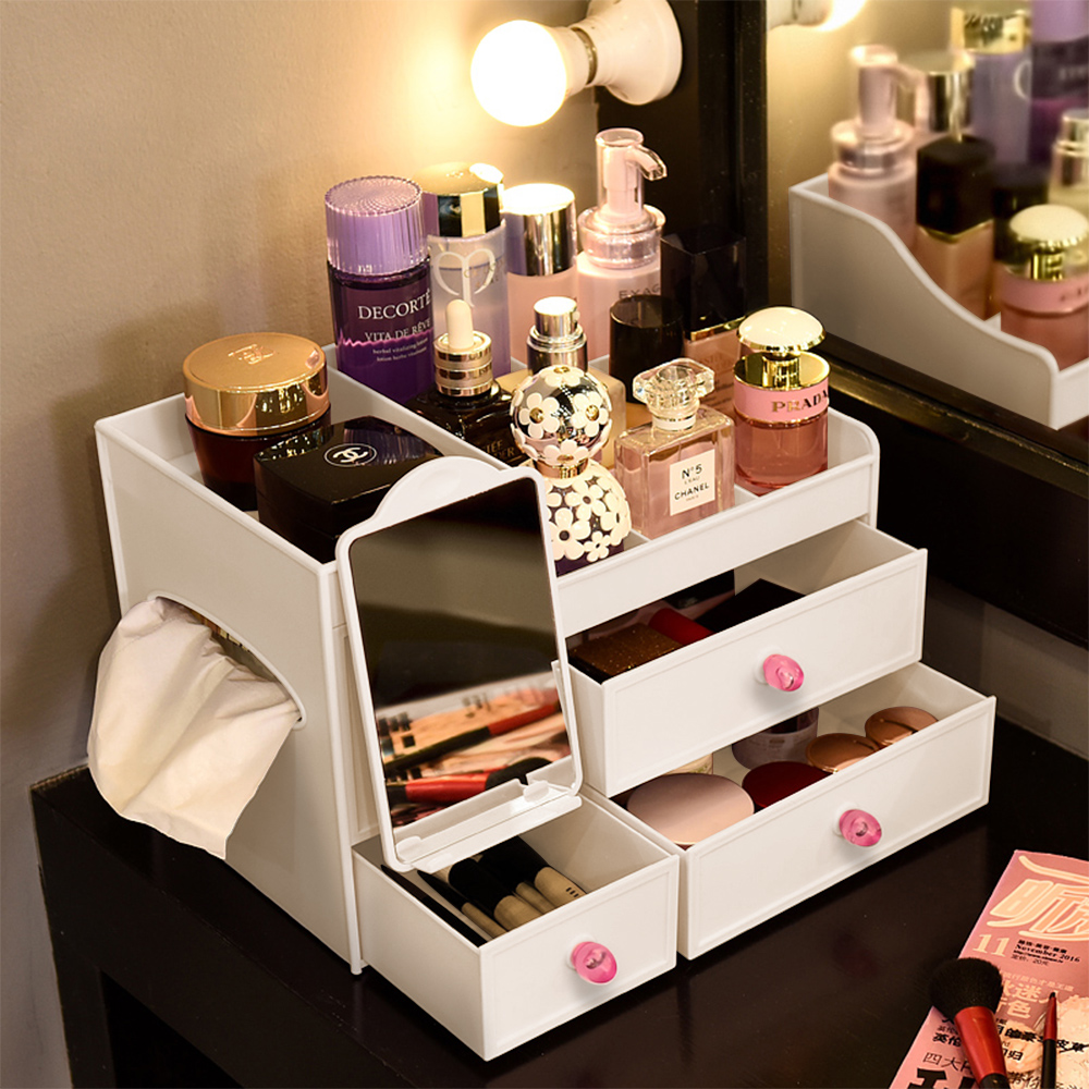 【Mr.box】含鏡化妝品收纳盒-白色/粉色