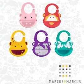 【加拿大MARCUS&MARCUS 】動物樂園矽膠立體圍兜-大象/粉紅豬/鯨魚/獅子/長頸鹿