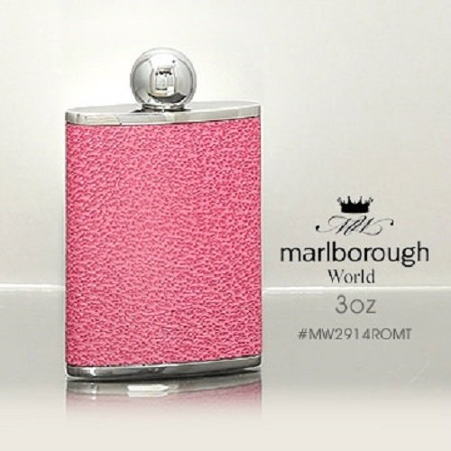 英國Marlborough粉紅色皮面皮革酒壺(3oz)#MW2914ROMT