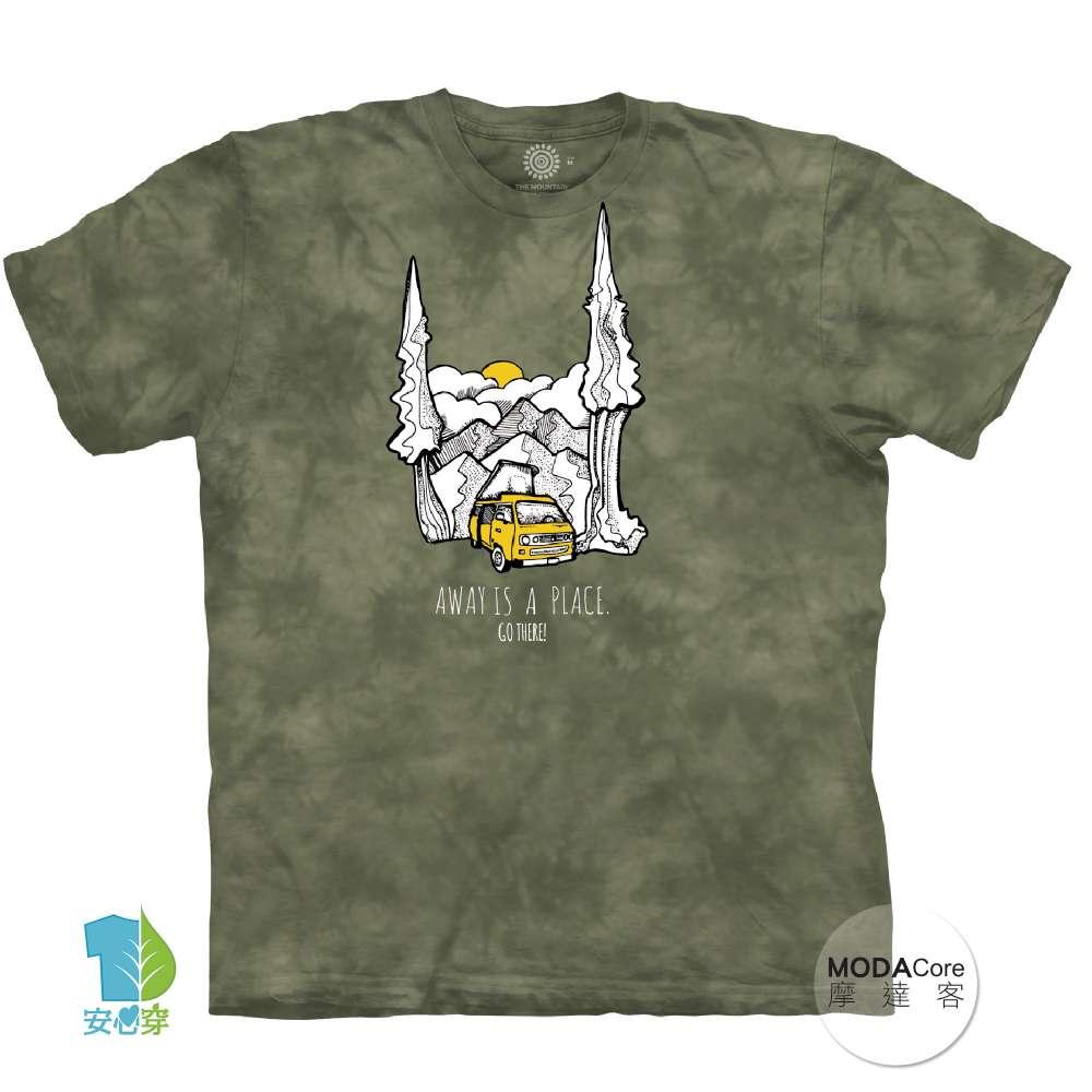 摩達客-(預購美國進口The Mountain 放鬆露營車 純棉環保藝術中性短袖T恤